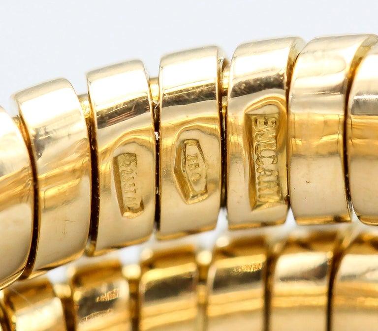 Bulgari Tubogas Diamond and 18 Karat Yellow Gold Flexible Snake Ring For Sale 2