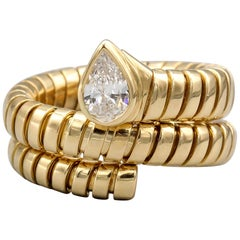 Bulgari Tubogas Diamond and 18 Karat Yellow Gold Flexible Snake Ring