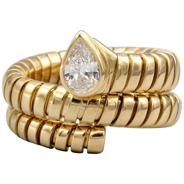 Bulgari Tubogas Diamond and 18 Karat Yellow Gold Flexible Snake Ring For Sale