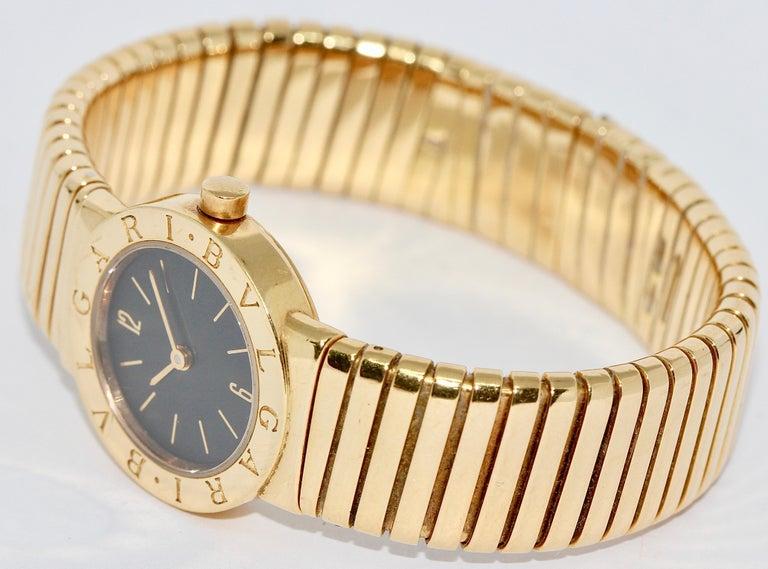 Bulgari Tubogas Ladies 18 Karat Bracelet Bangle Wristwatch In Good Condition For Sale In Berlin, DE