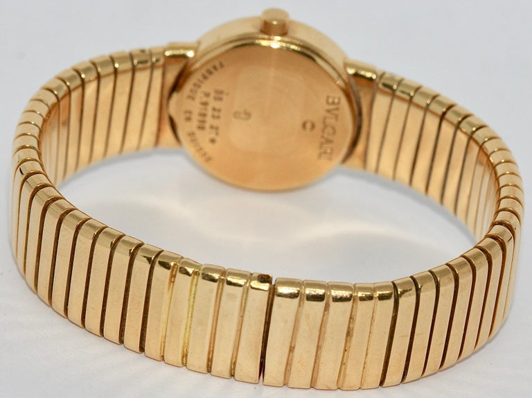 Women's Bulgari Tubogas Ladies 18 Karat Bracelet Bangle Wristwatch For Sale