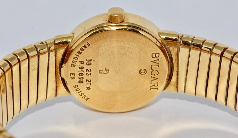 Bulgari Tubogas Ladies 18 Karat Bracelet Bangle Wristwatch For Sale 1