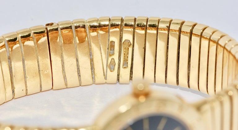 Bulgari Tubogas Ladies 18 Karat Bracelet Bangle Wristwatch For Sale 2