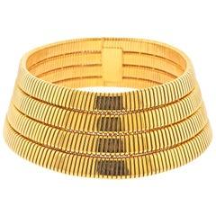 Bulgari Tubogas Four-Row Gold Collar Necklace