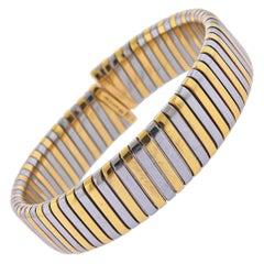 Bulgari Tubogas Gold and Steel Bracelet