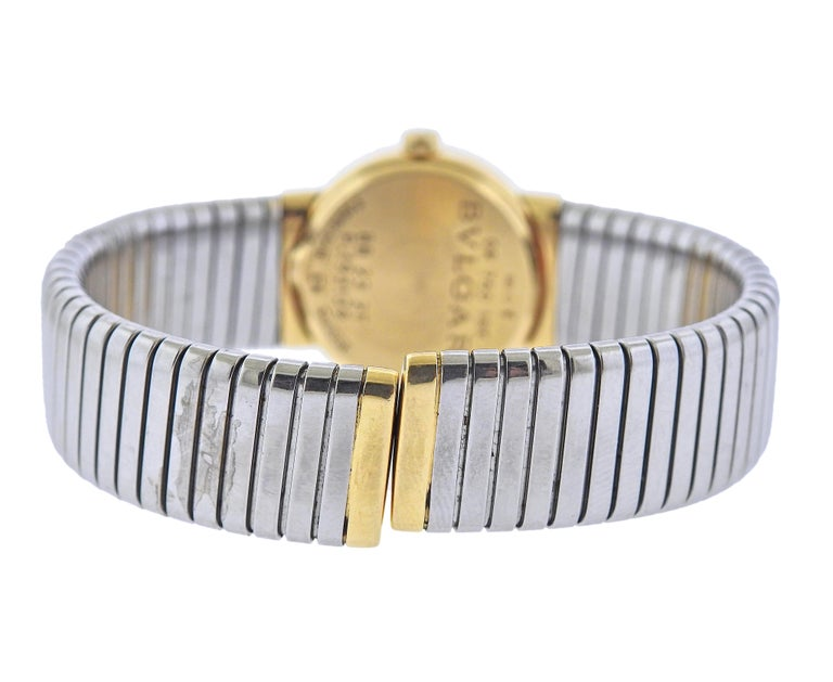 Bulgari Tubogas Gold and Steel Watch Bracelet BB232T In Excellent Condition For Sale In New York, NY