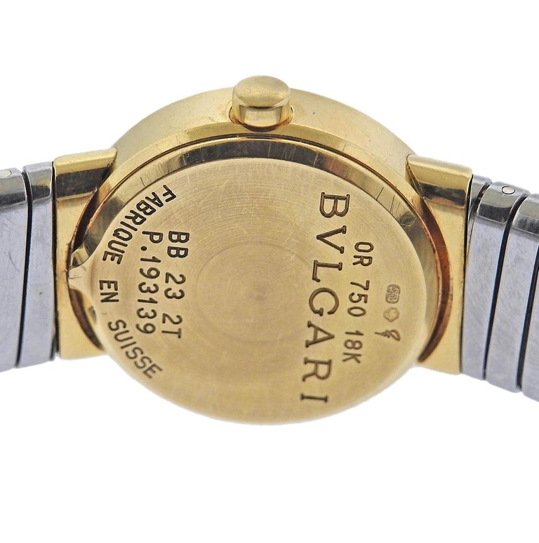 Women's Bulgari Tubogas Gold and Steel Watch Bracelet BB232T For Sale