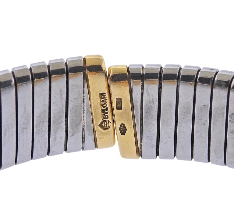 Bulgari Tubogas Gold and Steel Watch Bracelet BB232T For Sale 1