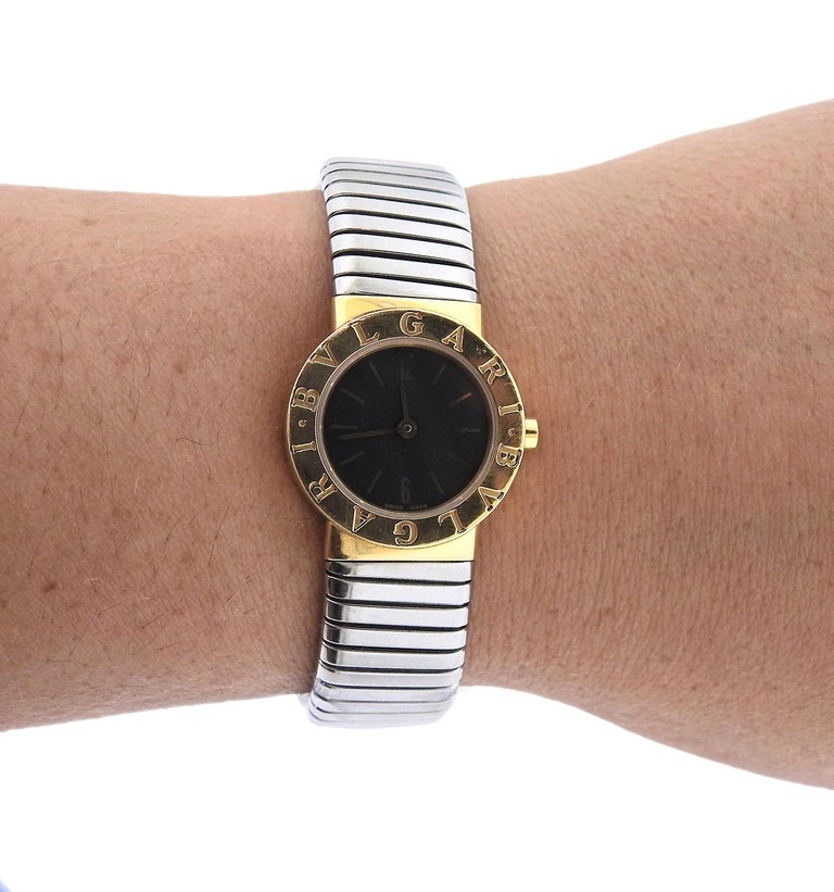 Bulgari Tubogas Gold and Steel Watch Bracelet BB232T For Sale 2
