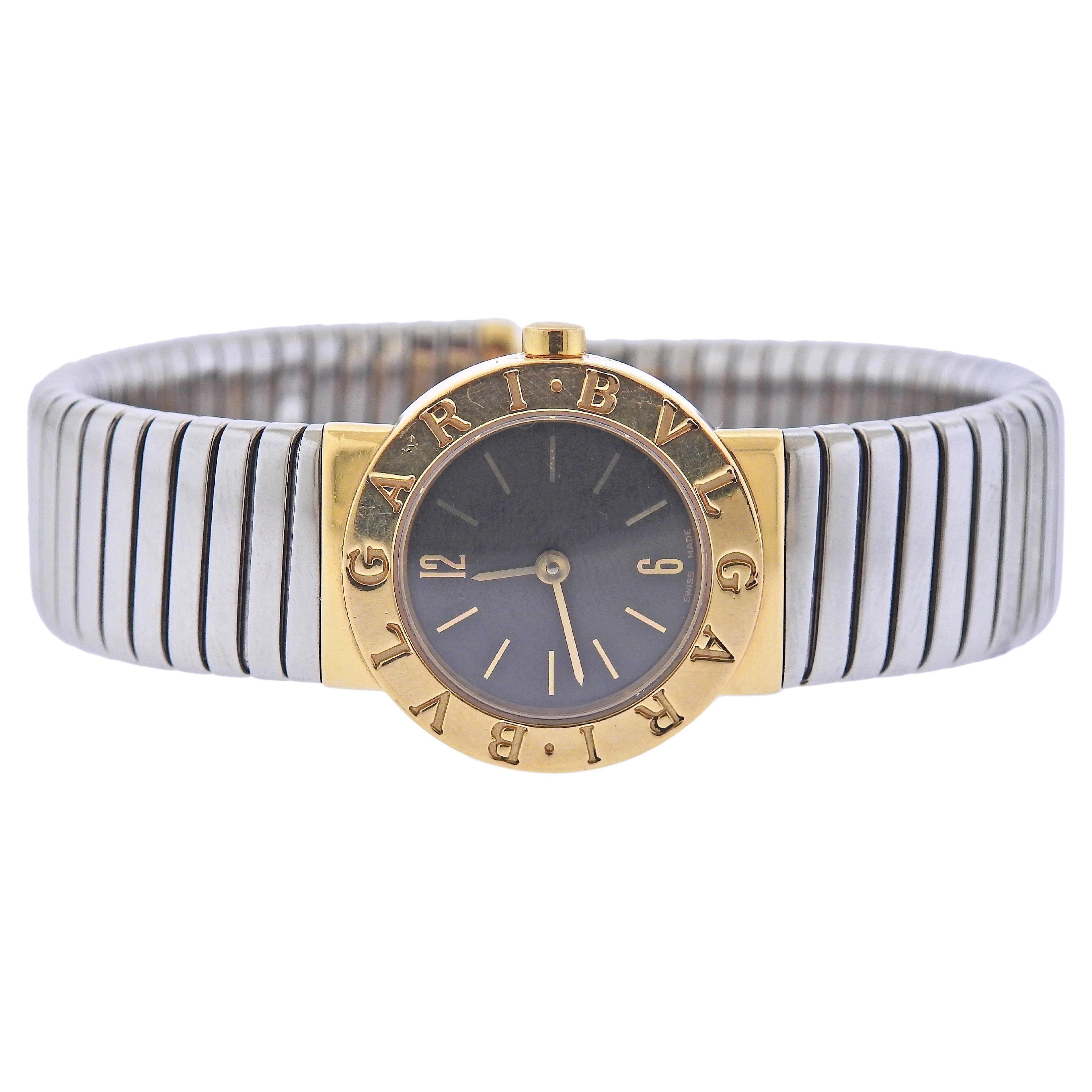 Bulgari Tubogas Gold and Steel Watch Bracelet BB232T