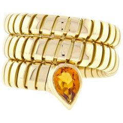 Bulgari Tubogas Gold Citrine Wrap Ring