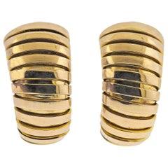 Bulgari Tubogas Gold Half Hoop Earrings