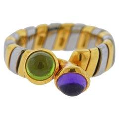 Bulgari Tubogas Gold Steel Amethyst Peridot Ring
