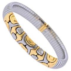 Bulgari Tubogas Gold Steel Bracelet