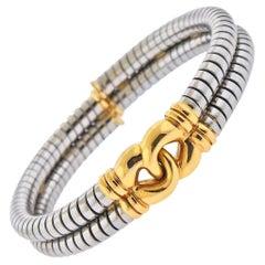 Bulgari Tubogas Gold Steel Cuff Bracelet