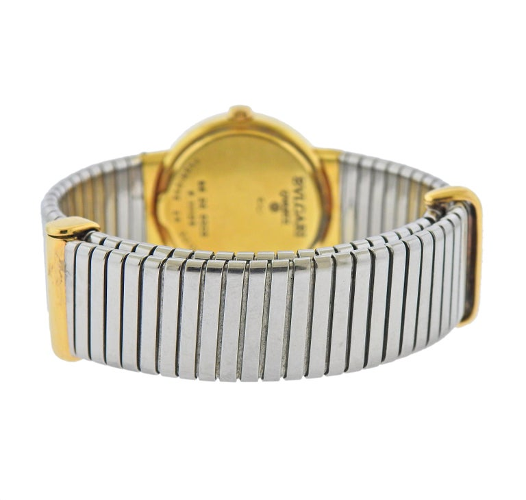 Bulgari Tubogas Gold Steel Watch Bracelet BB 26 GSCD In Excellent Condition For Sale In New York, NY