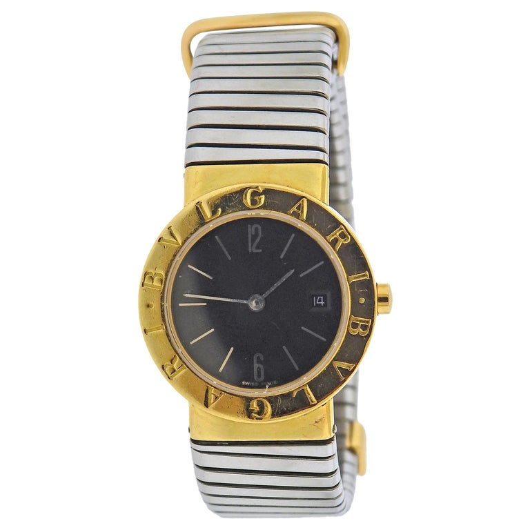 Bulgari Tubogas Gold Steel Watch Bracelet BB 26 GSCD For Sale