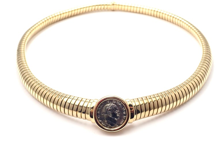 18k Yellow Gold Tubogas Monete Ancient Coin Necklace by Bulgari. Metal: 18k Yellow Gold Necklace is 16