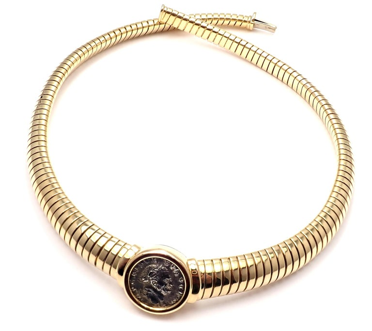 Bulgari Tubogas Monete Ancient Coin Yellow Gold Necklace For Sale 4