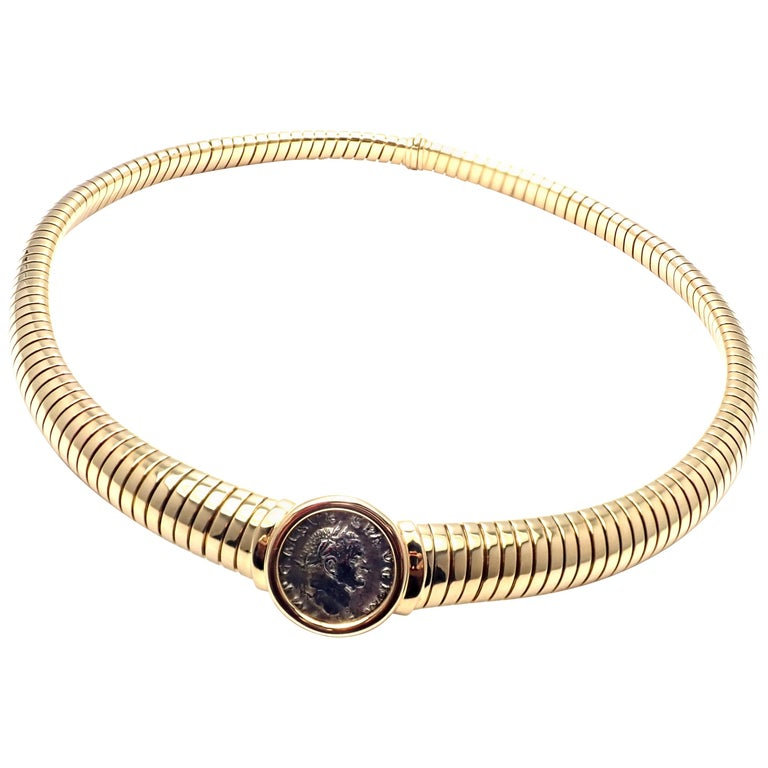 Bulgari Tubogas Monete Ancient Coin Yellow Gold Necklace For Sale