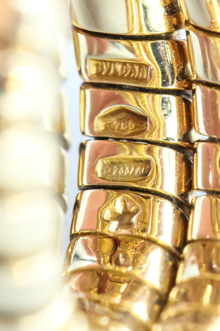 Bulgari Tubogas Oval Diamond and 18 Karat Yellow Gold Flexible Snake Ring For Sale 1