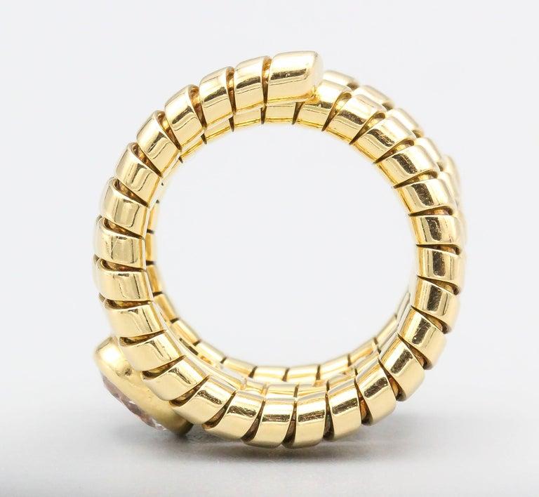 Women's Bulgari Tubogas Oval Diamond and 18 Karat Yellow Gold Flexible Snake Ring