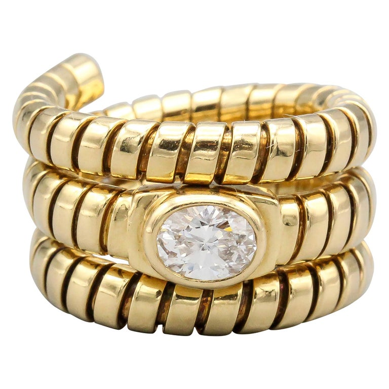 Bulgari Tubogas Oval Diamond and 18 Karat Yellow Gold Flexible Snake Ring