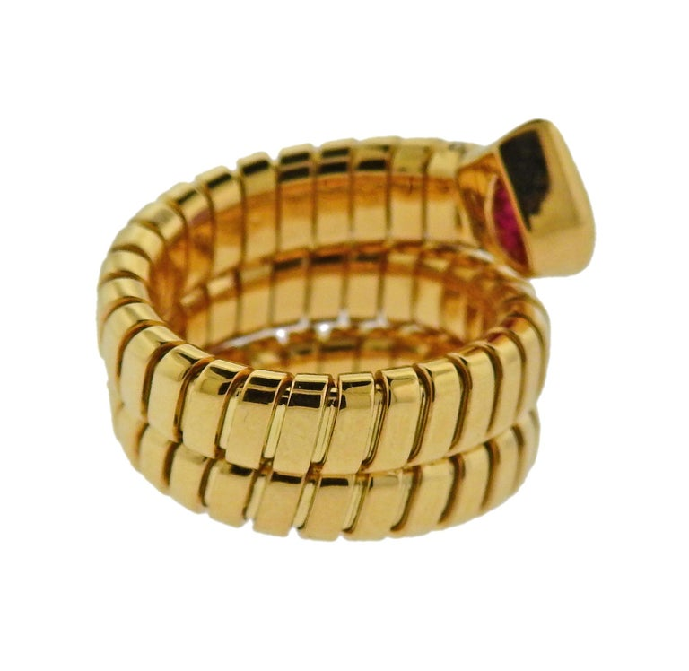 Bulgari Tubogas Ruby Gold Wrap Ring In Excellent Condition For Sale In Lahaska, PA