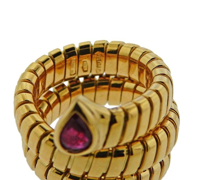 Women's Bulgari Tubogas Ruby Gold Wrap Ring For Sale