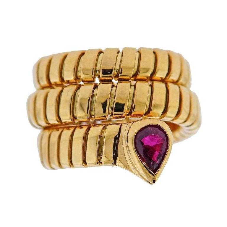 Bulgari Tubogas Ruby Gold Wrap Ring For Sale