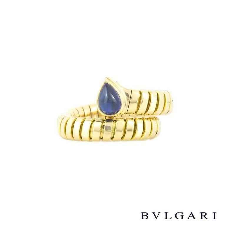 Pear Cut Bulgari Tubogas Sapphire Serpentine Ring For Sale