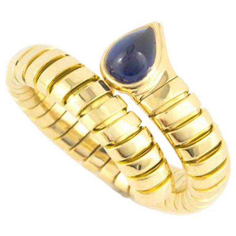 Bulgari Tubogas Sapphire Serpentine Ring For Sale