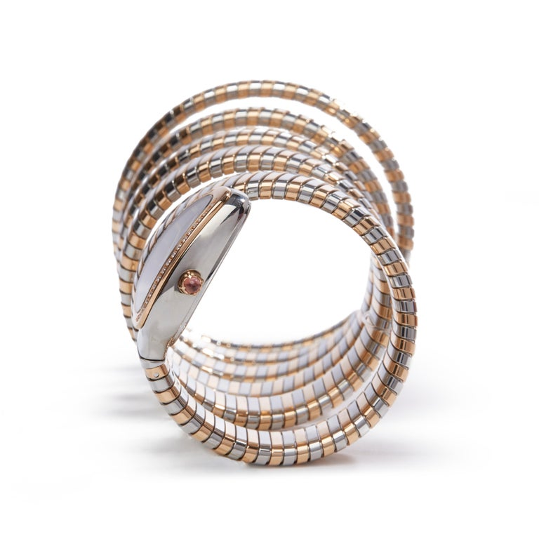 Bulgari Tubogas Serpenti Stainless Steel And 18k Rose Gold 102621 In Excellent Condition For Sale In Bishops Stortford, Hertfordshire