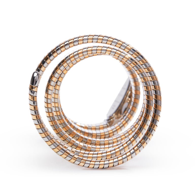 Women's Bulgari Tubogas Serpenti Stainless Steel And 18k Rose Gold 102621 For Sale