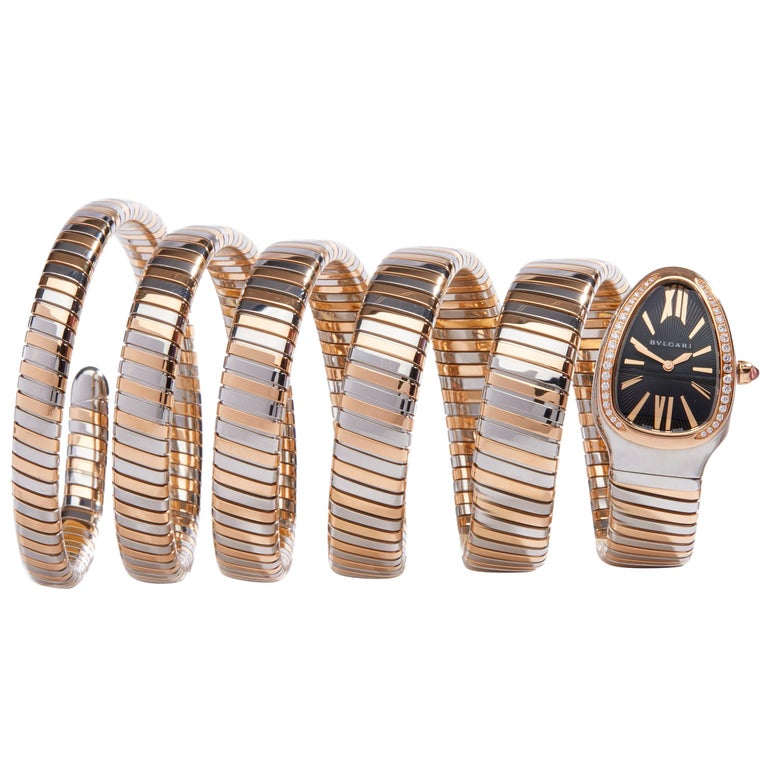Bulgari Tubogas Serpenti Stainless Steel And 18k Rose Gold 102621 For Sale