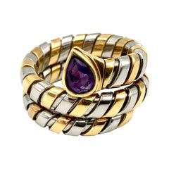 Bulgari Tubogas Serpenti Yellow Gold Stainless Steel Amethyst Ring