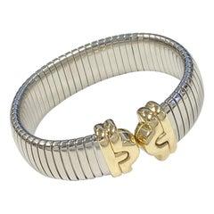 Bulgari Tubogas Steel and Yellow Gold Cuff Bracelet