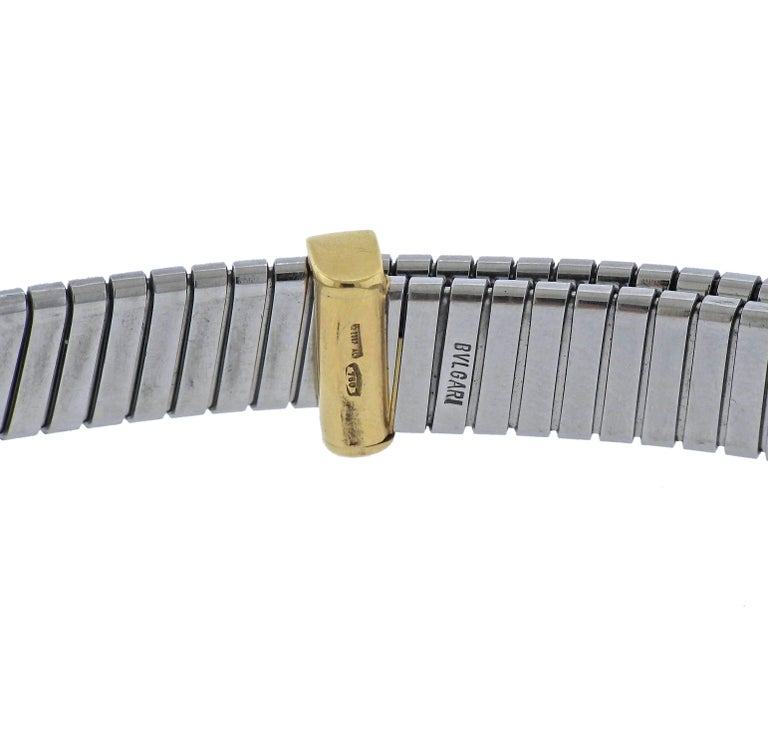 Classic Tubogas necklace in stainless steel and 18k gold, crafted by Bulgari. Necklace is adjustable in length, total 17.5