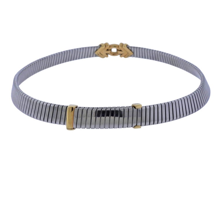 Bulgari Tubogas Steel Gold Necklace In Excellent Condition For Sale In Lahaska, PA