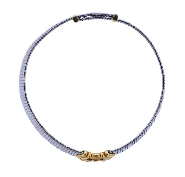 Women's Bulgari Tubogas Steel Gold Necklace For Sale