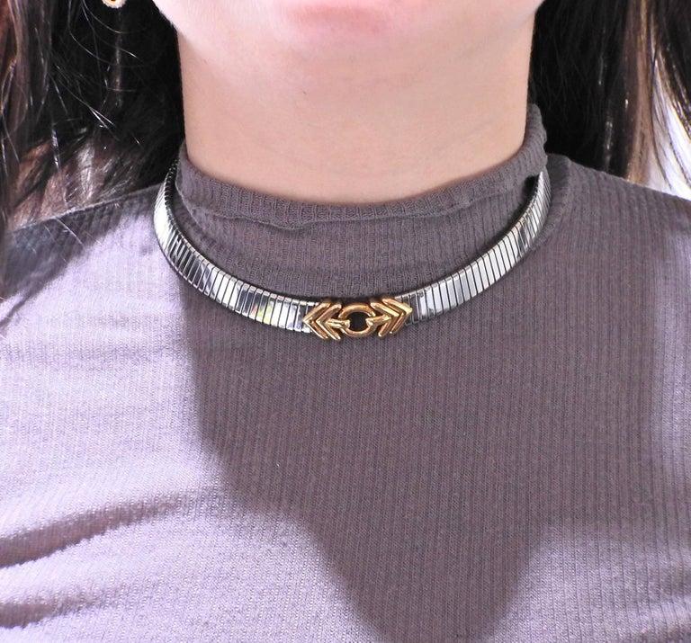 Bulgari Tubogas Steel Gold Necklace For Sale 1