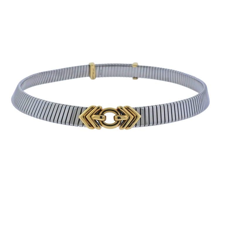 Bulgari Tubogas Steel Gold Necklace
