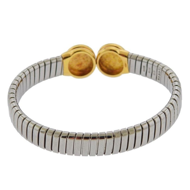 Bulgari Tubogas Steel Gold Onyx Bracelet In Excellent Condition For Sale In New York, NY