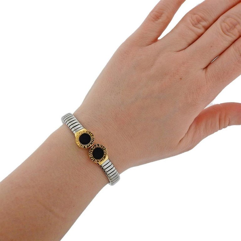 Bulgari Tubogas Steel Gold Onyx Bracelet For Sale 1
