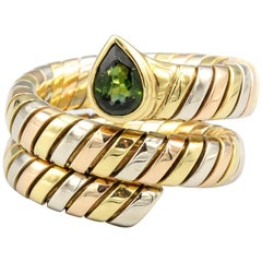 Bulgari Tubogas Tourmaline 18 Karat 3 Color Gold Flexible Ring