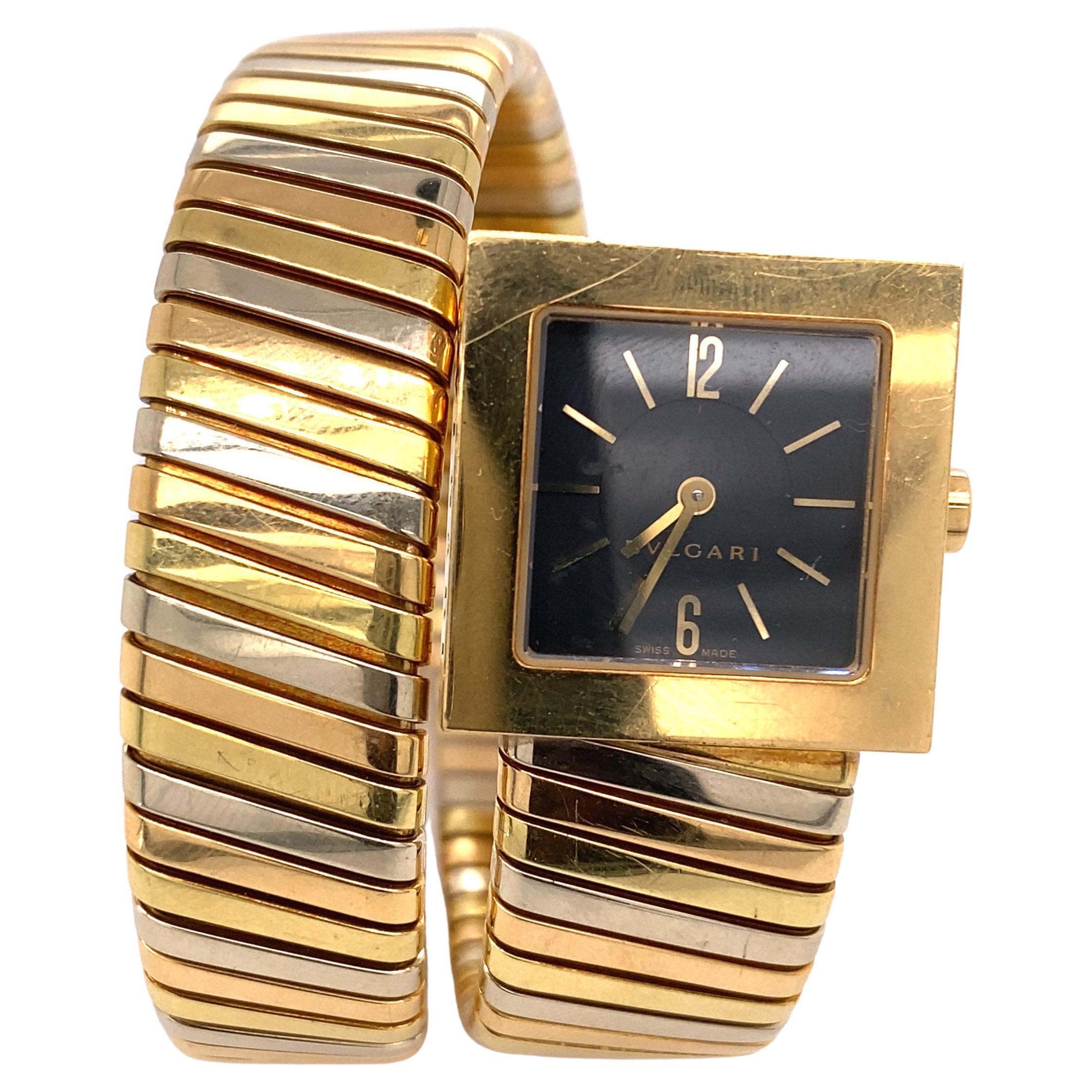 Bulgari Tubogas Tri Color Gold Wrap Bracelet Watch
