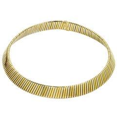 Bulgari Tubogas Tri-Tone Gold Collar Necklace