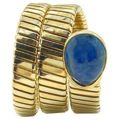 Bulgari Tubogas Two-Color Gold Bracelet with 20 Carat Sapphire