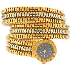 Bulgari Tubogas Two-Tone Gold Wrap Bracelet Watch BB 19 1T