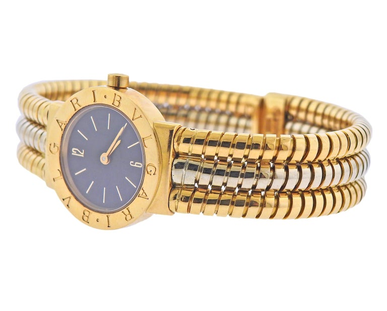 18k white and yellow gold Tubogas bracelet with Bvlgari watch. Bracelet will fit up to 7